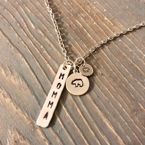 handmade Jewelry - Hand stamped Momma Bear necklace